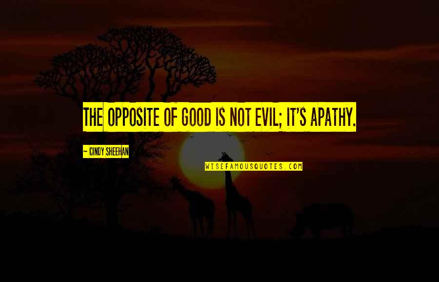 Apathy's Quotes By Cindy Sheehan: The opposite of good is not evil; it's