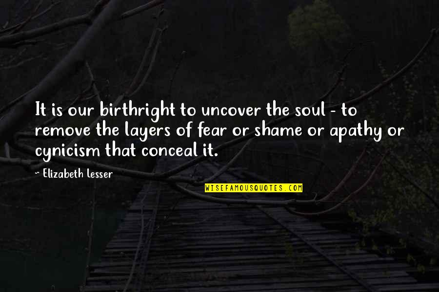 Apathy's Quotes By Elizabeth Lesser: It is our birthright to uncover the soul
