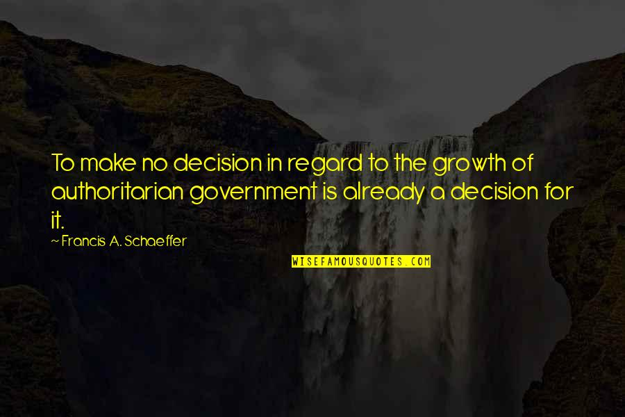 Apathy's Quotes By Francis A. Schaeffer: To make no decision in regard to the
