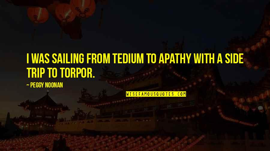 Apathy's Quotes By Peggy Noonan: I was sailing from tedium to apathy with