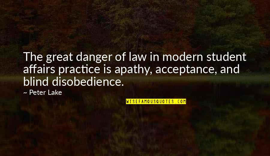 Apathy's Quotes By Peter Lake: The great danger of law in modern student