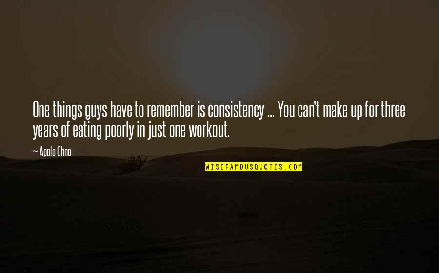 Apolo Ohno Quotes By Apolo Ohno: One things guys have to remember is consistency