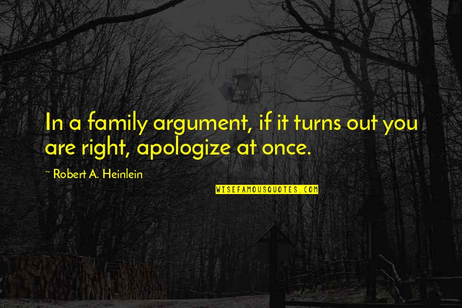 Apologizing To Family Quotes By Robert A. Heinlein: In a family argument, if it turns out