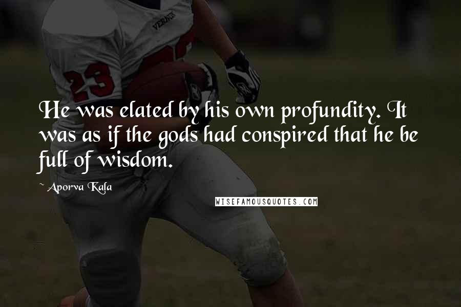 Aporva Kala quotes: He was elated by his own profundity. It was as if the gods had conspired that he be full of wisdom.