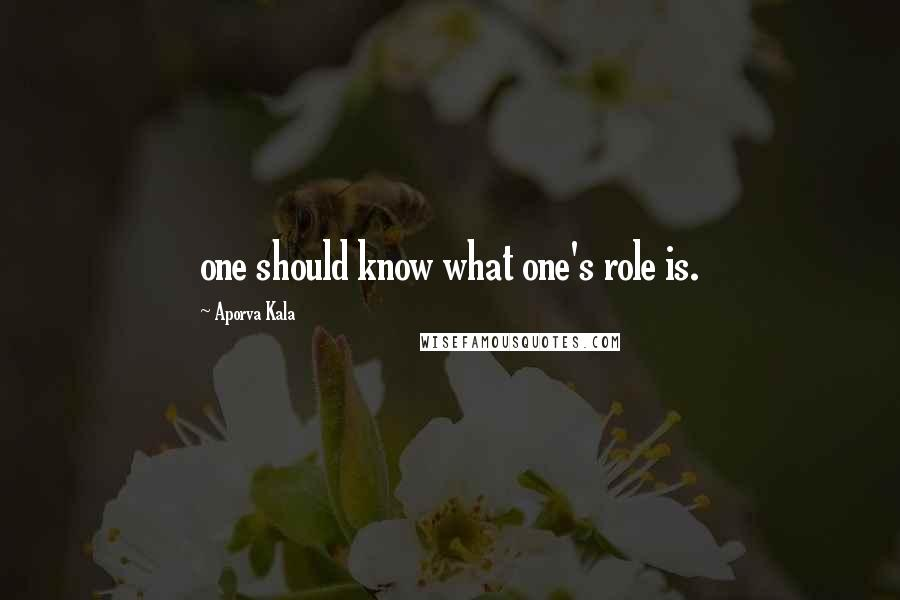Aporva Kala quotes: one should know what one's role is.