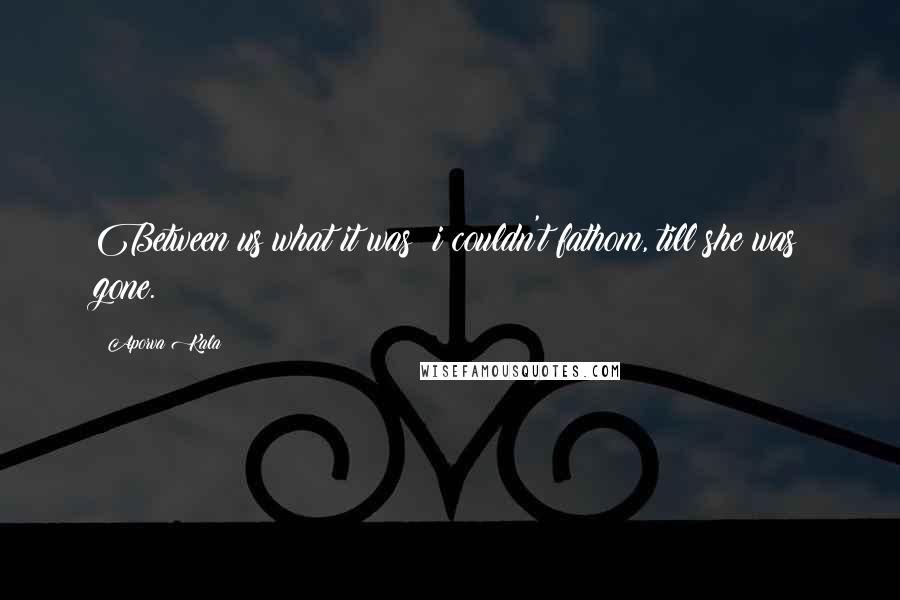 Aporva Kala quotes: Between us what it was? i couldn't fathom, till she was gone.