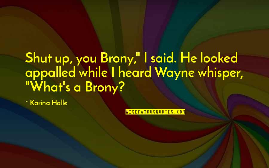 """Appalled Quotes By Karina Halle: Shut up, you Brony,"""" I said. He looked"""