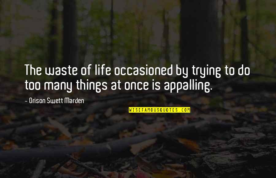Appalling Quotes By Orison Swett Marden: The waste of life occasioned by trying to