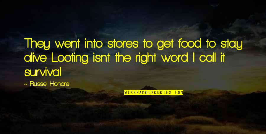 Apples And Fall Quotes By Russel Honore: They went into stores to get food to