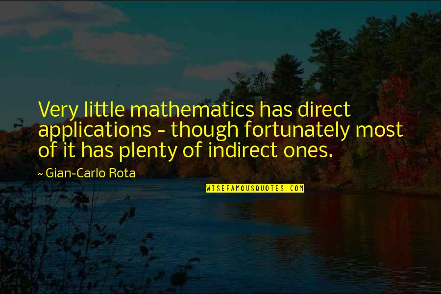 Applications Of Mathematics Quotes By Gian-Carlo Rota: Very little mathematics has direct applications - though
