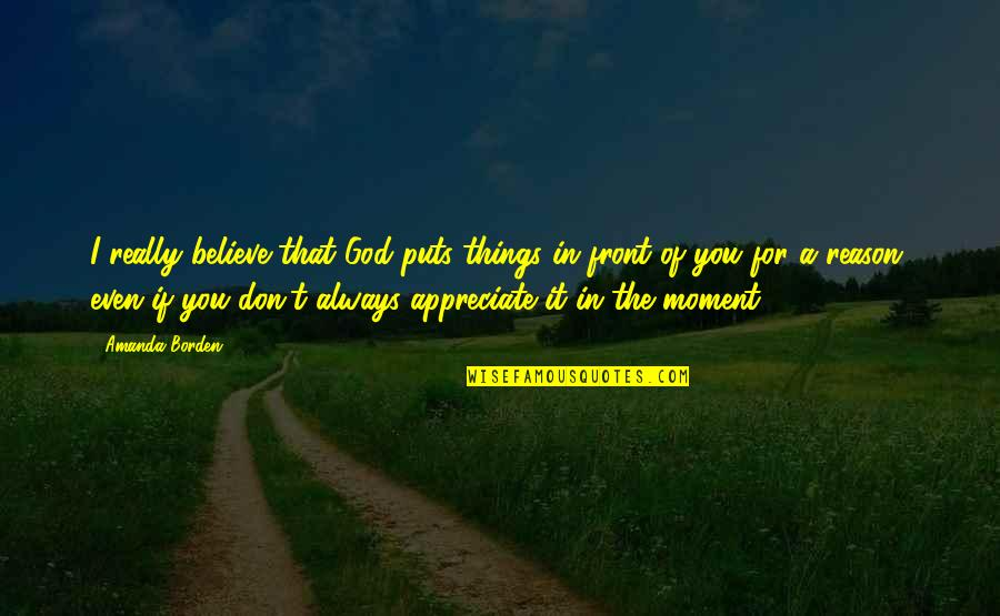 Appreciate The Things Quotes By Amanda Borden: I really believe that God puts things in