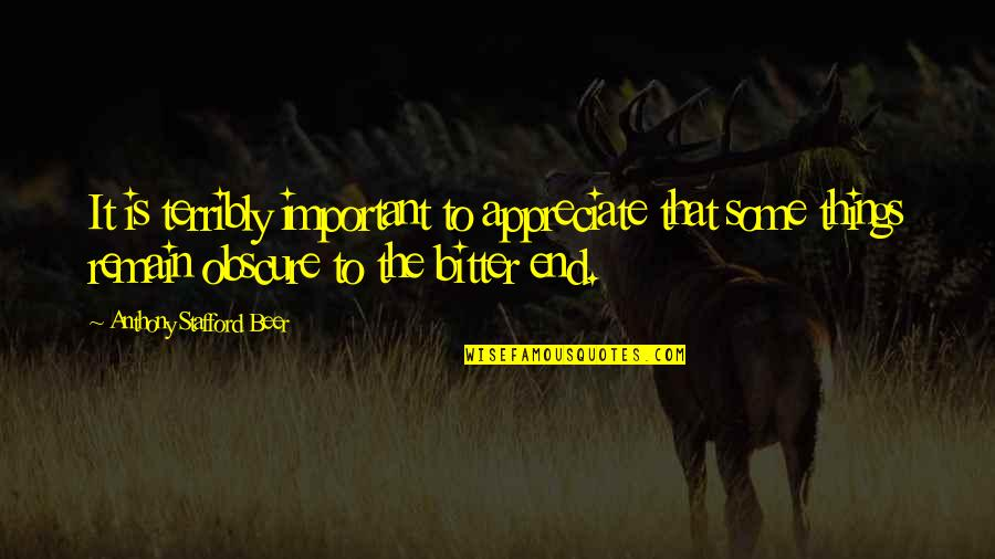 Appreciate The Things Quotes By Anthony Stafford Beer: It is terribly important to appreciate that some