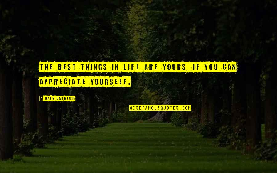 Appreciate The Things Quotes By Dale Carnegie: The best things in life are yours, if