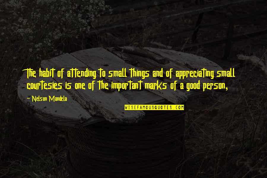 Appreciate The Things Quotes By Nelson Mandela: The habit of attending to small things and