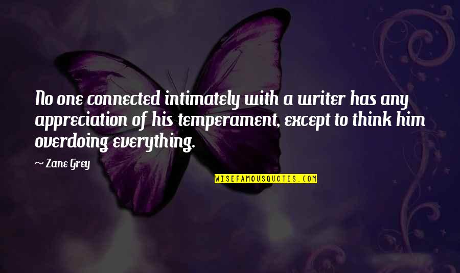Appreciation For Him Quotes By Zane Grey: No one connected intimately with a writer has