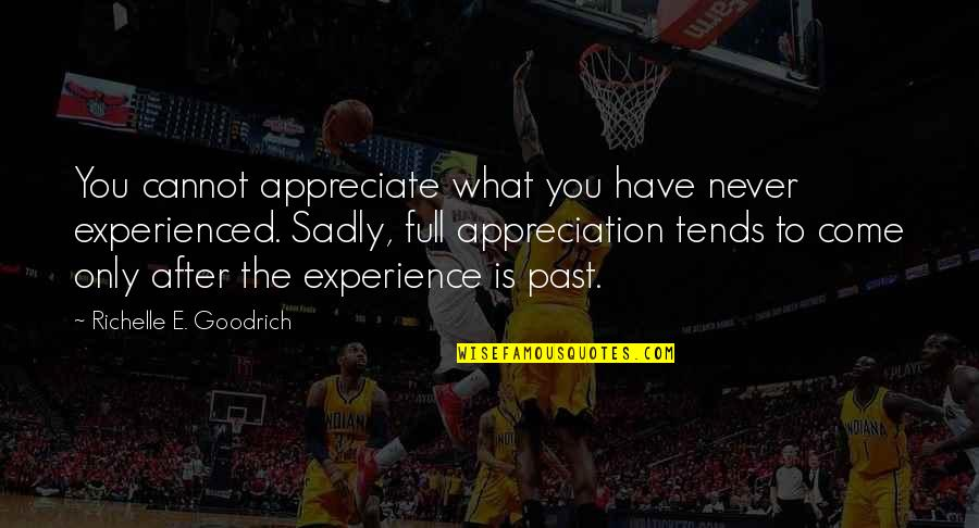 Appreciation Of What You Have Quotes By Richelle E. Goodrich: You cannot appreciate what you have never experienced.