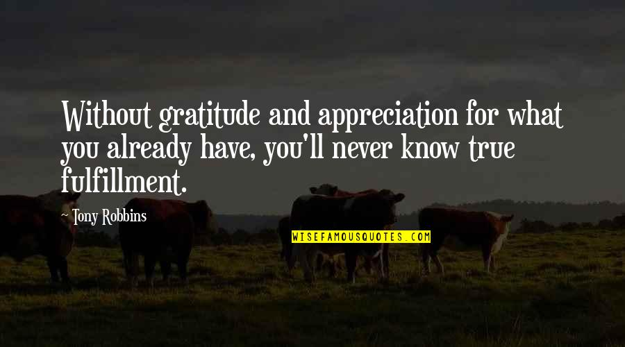 Appreciation Of What You Have Quotes By Tony Robbins: Without gratitude and appreciation for what you already