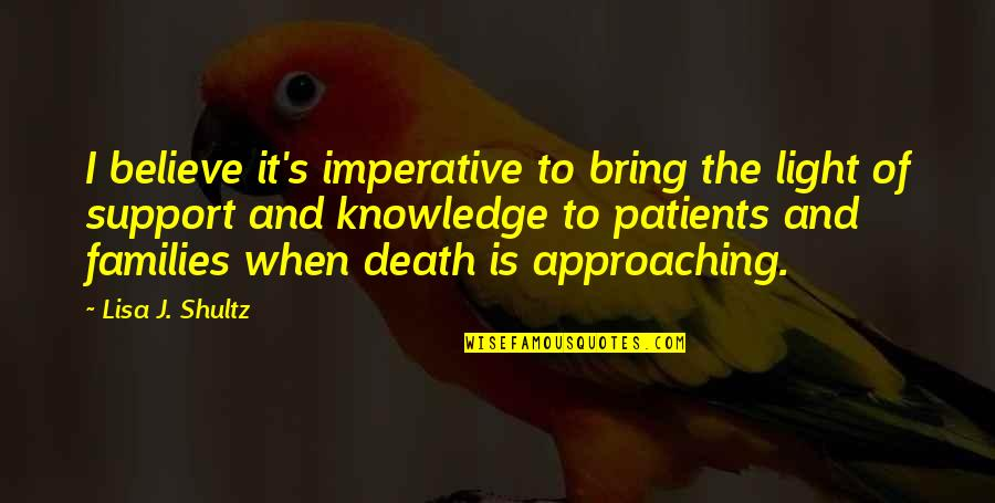Approaching Death Quotes By Lisa J. Shultz: I believe it's imperative to bring the light