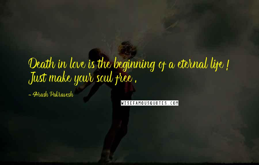 Arash Pakravesh quotes: Death in love is the beginning of a eternal life ! Just make your soul free .