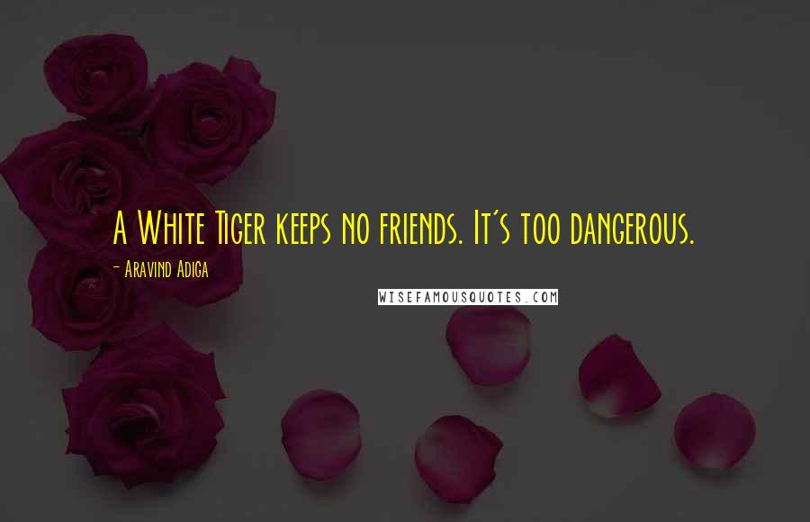 Aravind Adiga quotes: A White Tiger keeps no friends. It's too dangerous.