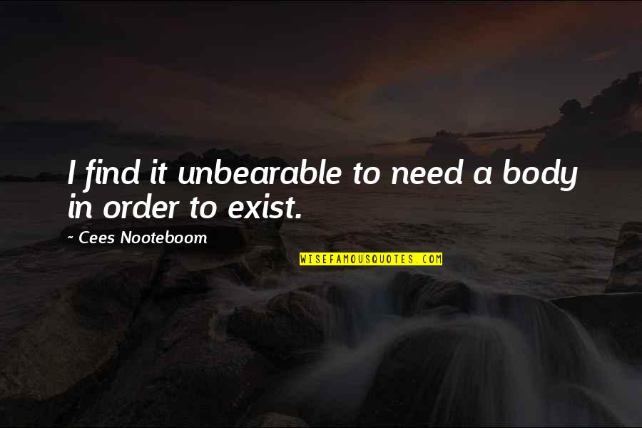Arcane Magic Quotes By Cees Nooteboom: I find it unbearable to need a body
