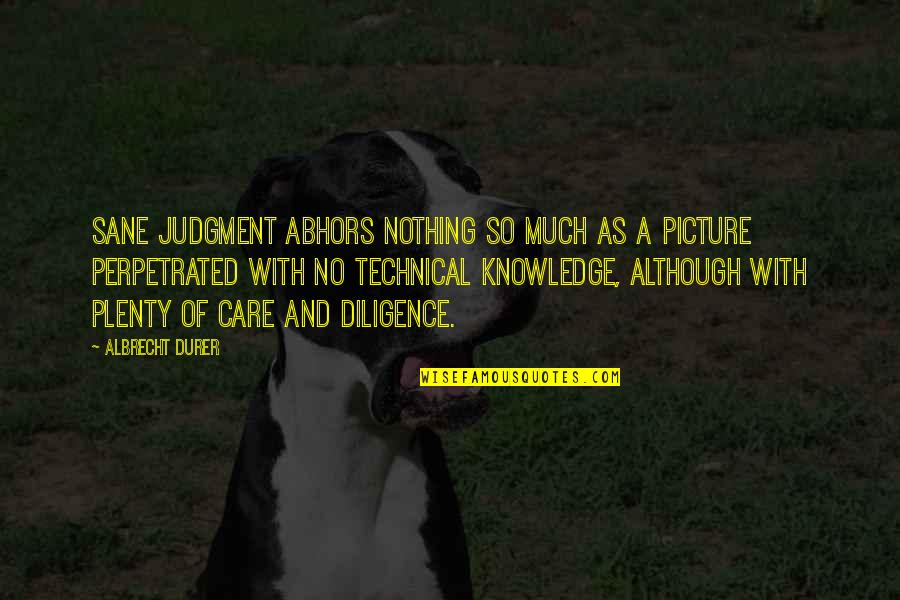 Are You Ok Picture Quotes By Albrecht Durer: Sane judgment abhors nothing so much as a