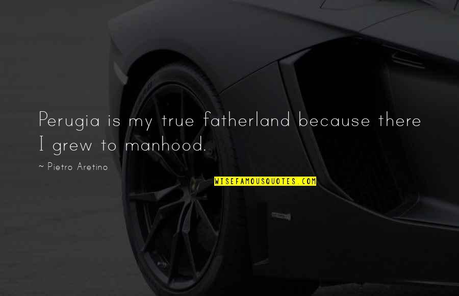 Aretino Quotes By Pietro Aretino: Perugia is my true fatherland because there I