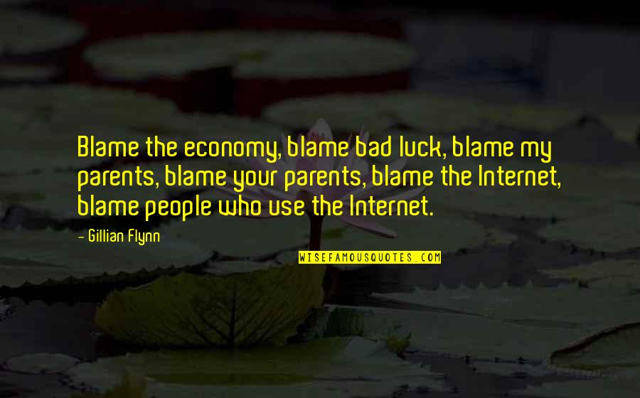 Arguments With Parents Quotes By Gillian Flynn: Blame the economy, blame bad luck, blame my