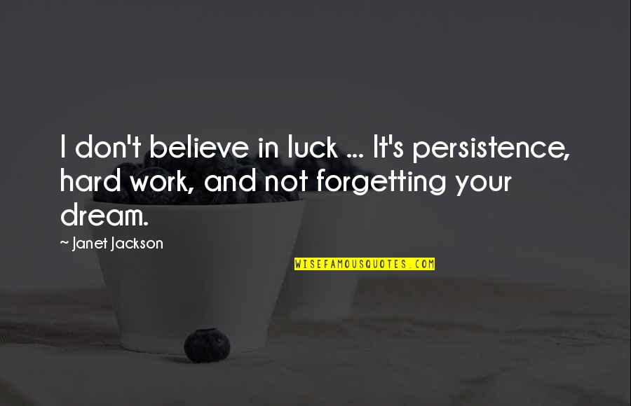 Ari Berk Quotes By Janet Jackson: I don't believe in luck ... It's persistence,