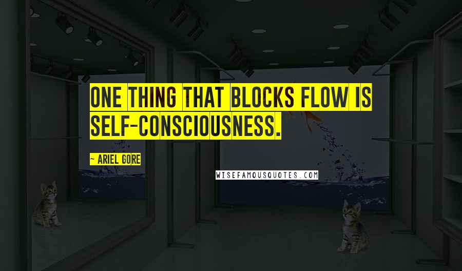 Ariel Gore quotes: One thing that blocks flow is self-consciousness.