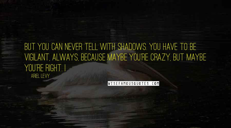 Ariel Levy quotes: But you can never tell with shadows. You have to be vigilant, always, because maybe you're crazy, but maybe you're right. I