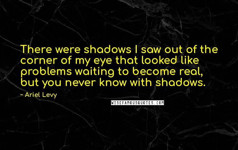 Ariel Levy quotes: There were shadows I saw out of the corner of my eye that looked like problems waiting to become real, but you never know with shadows.