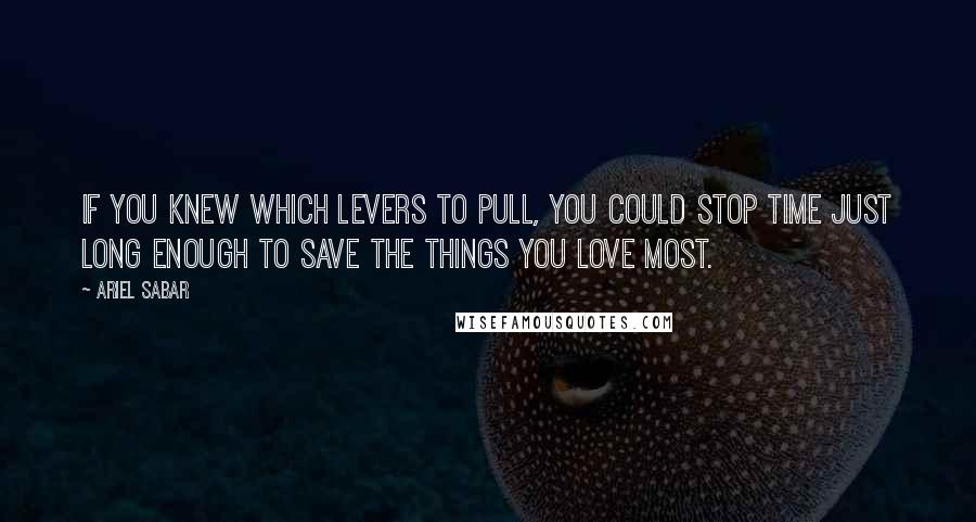 Ariel Sabar quotes: If you knew which levers to pull, you could stop time just long enough to save the things you love most.