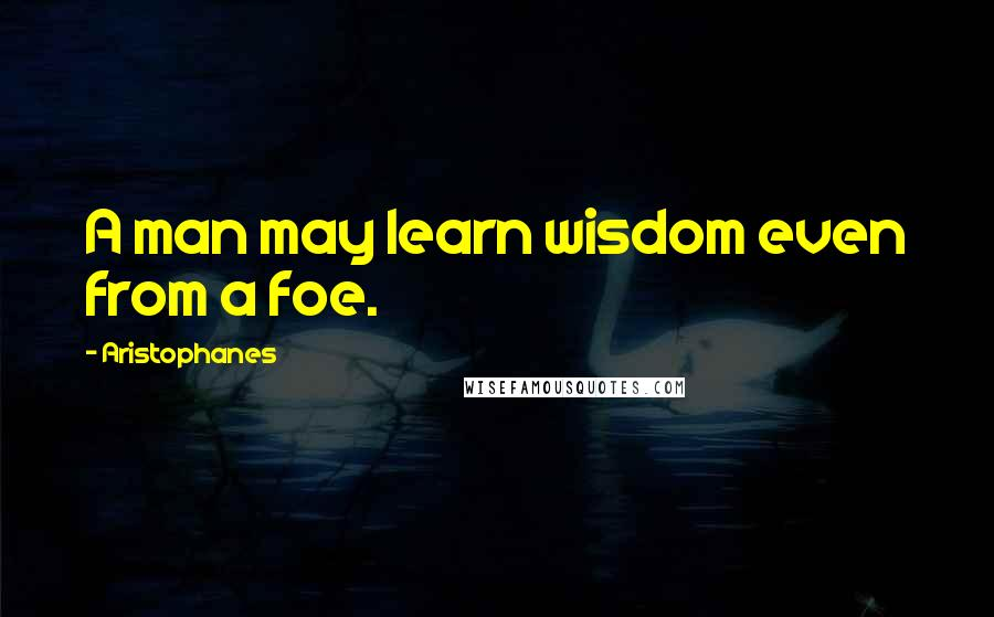 Aristophanes quotes: A man may learn wisdom even from a foe.