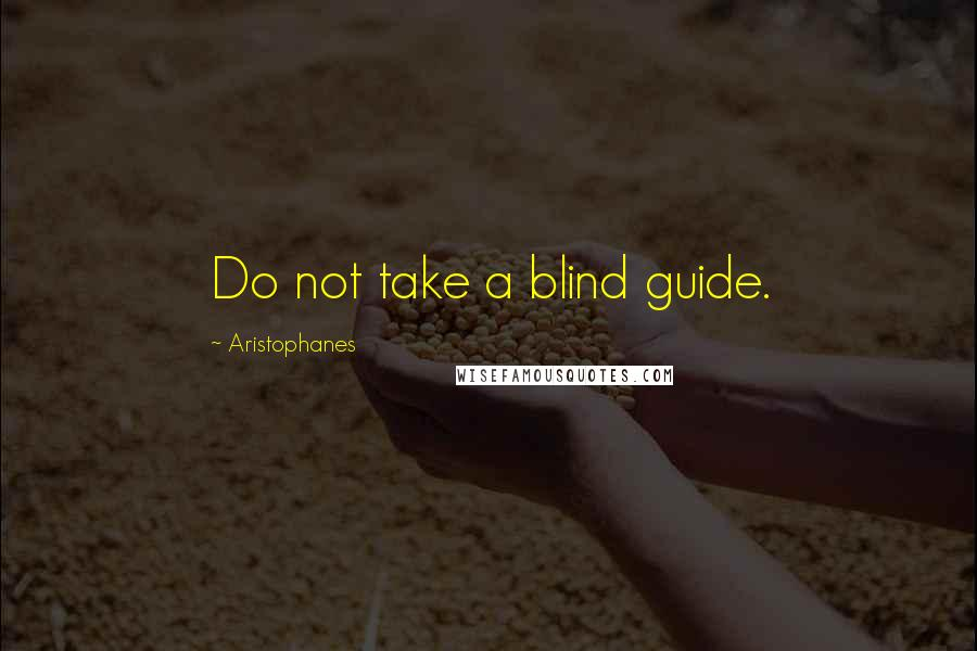 Aristophanes quotes: Do not take a blind guide.