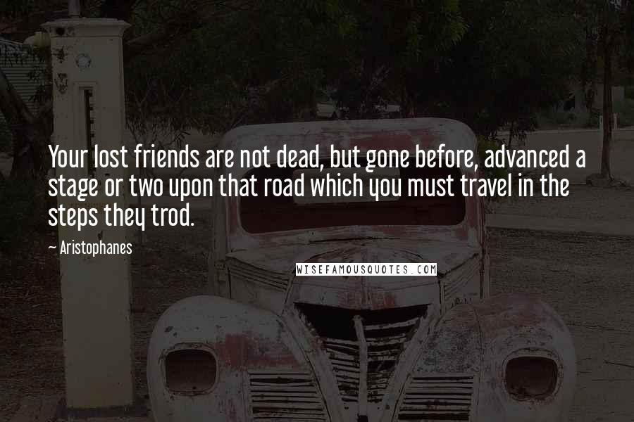 Aristophanes quotes: Your lost friends are not dead, but gone before, advanced a stage or two upon that road which you must travel in the steps they trod.