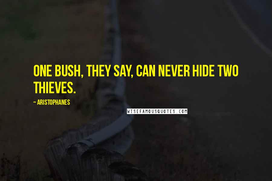 Aristophanes quotes: One bush, they say, can never hide two thieves.