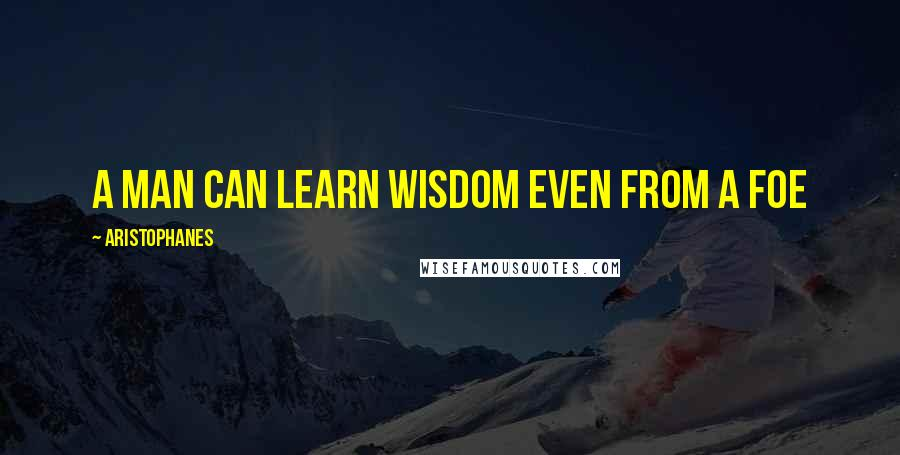 Aristophanes quotes: A man can learn wisdom even from a foe
