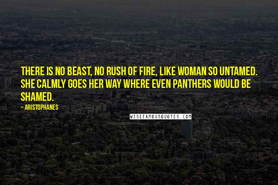 Aristophanes quotes: There is no beast, no rush of fire, like woman so untamed. She calmly goes her way where even panthers would be shamed.