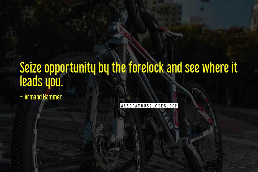 Armand Hammer quotes: Seize opportunity by the forelock and see where it leads you.