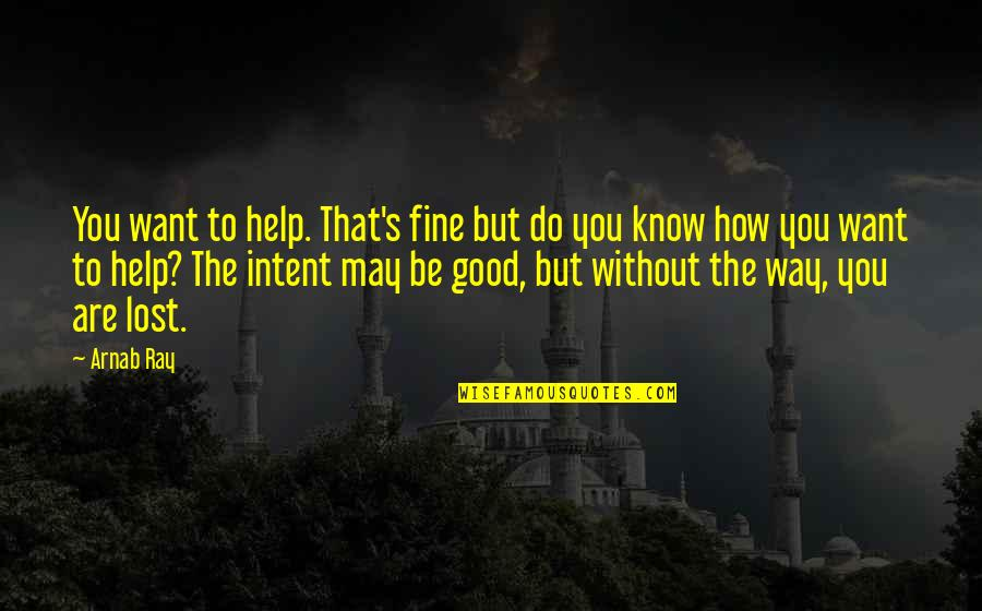 Arnab Quotes By Arnab Ray: You want to help. That's fine but do
