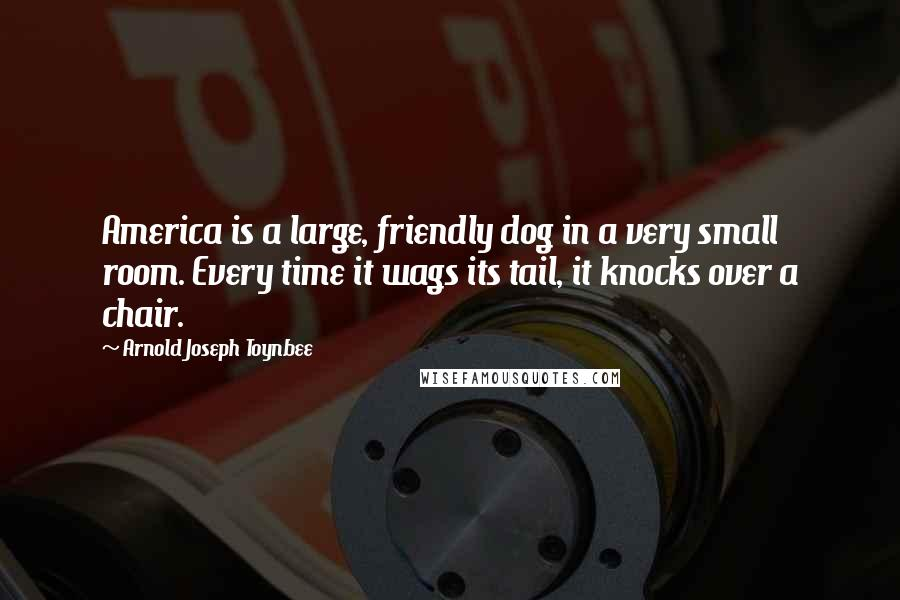 Arnold Joseph Toynbee quotes: America is a large, friendly dog in a very small room. Every time it wags its tail, it knocks over a chair.