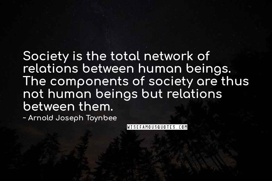 Arnold Joseph Toynbee quotes: Society is the total network of relations between human beings. The components of society are thus not human beings but relations between them.