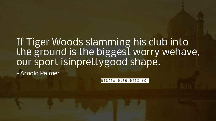 Arnold Palmer quotes: If Tiger Woods slamming his club into the ground is the biggest worry wehave, our sport isinprettygood shape.