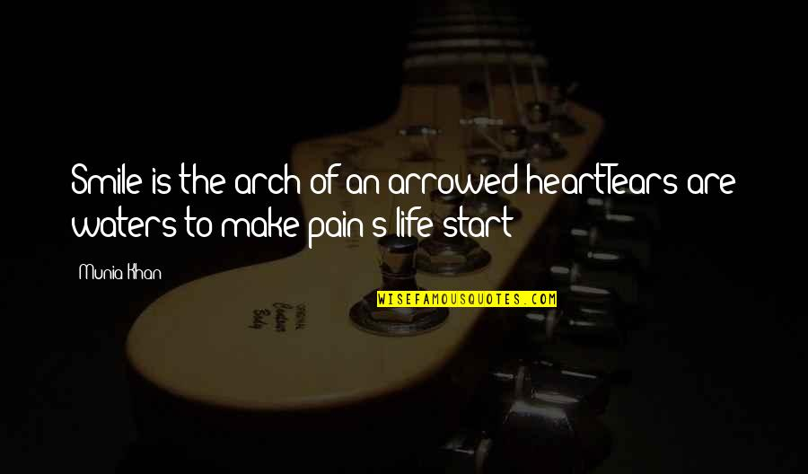 Arrowed Quotes By Munia Khan: Smile is the arch of an arrowed heartTears