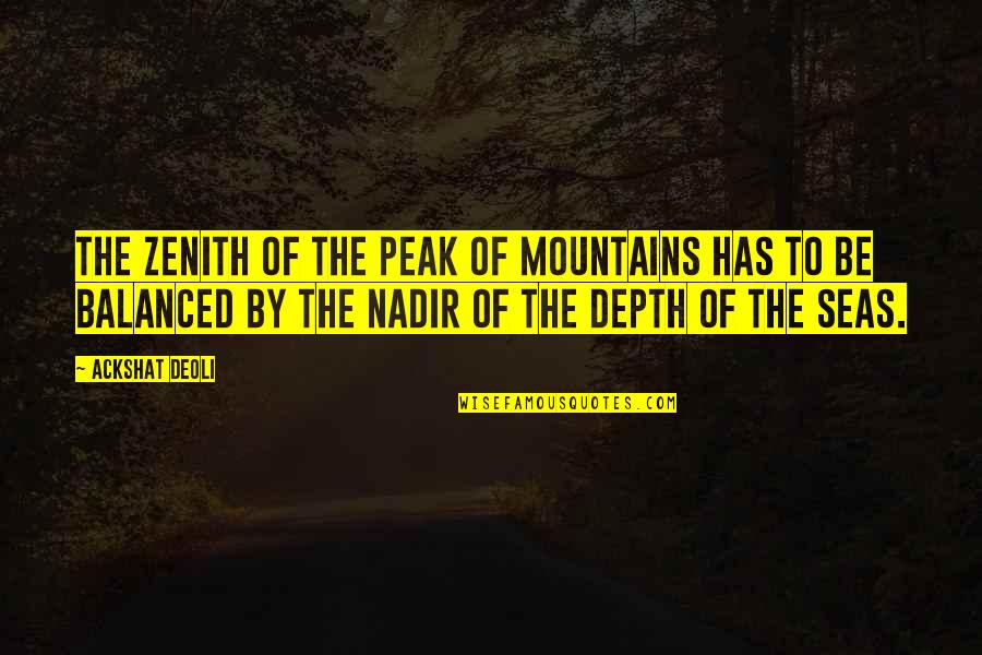 Art Motivational Quotes By Ackshat Deoli: The zenith of the peak of mountains has