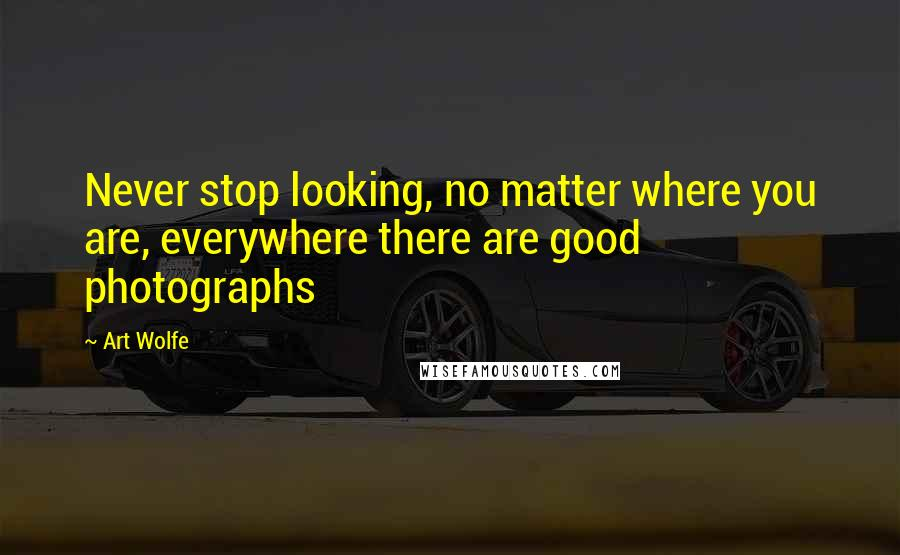 Art Wolfe quotes: Never stop looking, no matter where you are, everywhere there are good photographs