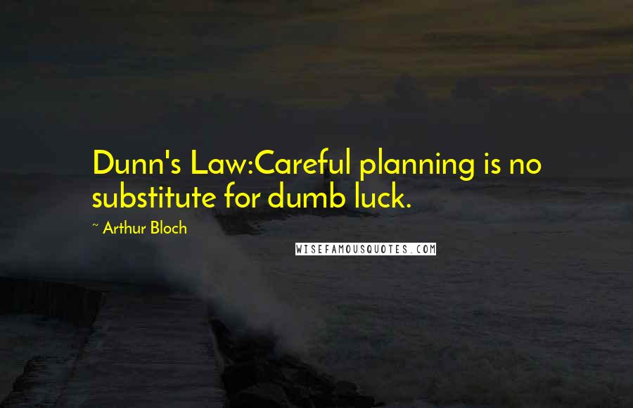 Arthur Bloch quotes: Dunn's Law:Careful planning is no substitute for dumb luck.