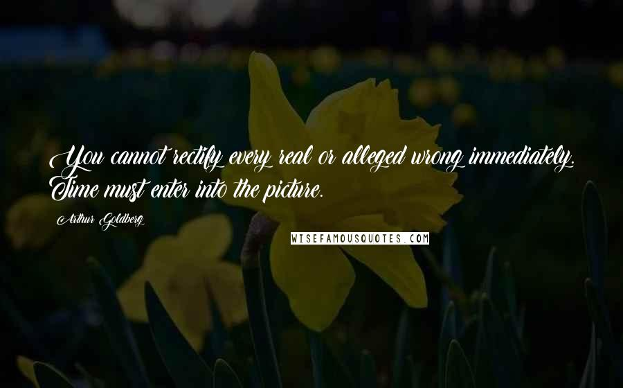 Arthur Goldberg quotes: You cannot rectify every real or alleged wrong immediately. Time must enter into the picture.