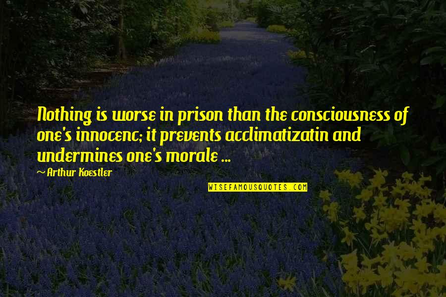 Arthur Koestler Quotes By Arthur Koestler: Nothing is worse in prison than the consciousness